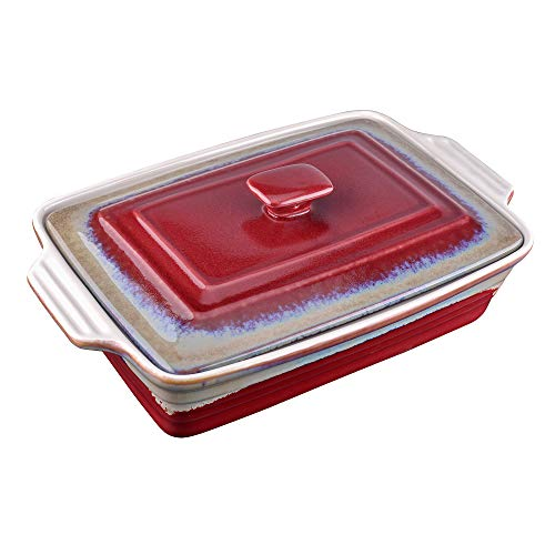 LOVECASA Stoneware Large Casserole Dish with Lid, 4.2 Quart Covered Rectangular Casserole Dish Set, Deep Bakeware Pans Set for Lasagne and Casseroles with Lid, 12.8 x 9.4 x 3.5 Inch, Red and Grey