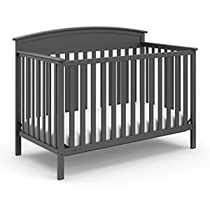 Stork Craft Graco Benton 4-in-1 Convertible Crib, Gray, Solid Pine and Wood Product Construction, Converts to Toddler Bed or Day Bed (Mattress Not Included), Grey