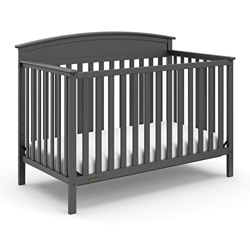 Graco Benton 4-in-1 Convertible Crib (Gray) – Easily Converts to Toddler Bed, Daybed or Full-Size Bed with Headboard, 3-Position Adjustable Mattress Support Base