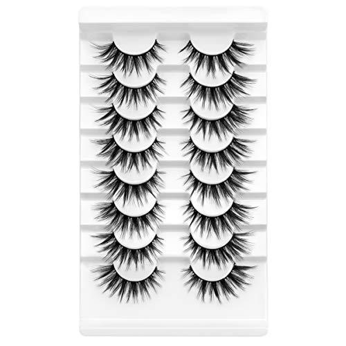 DYSILK 5D Faux Mink Eyelashes Fluffy Soft Natural Look False Eyelashes Wispy Long Eyelashes Handmade Reusable Luxurious Makeup Fake Eyelashes 8 Pairs