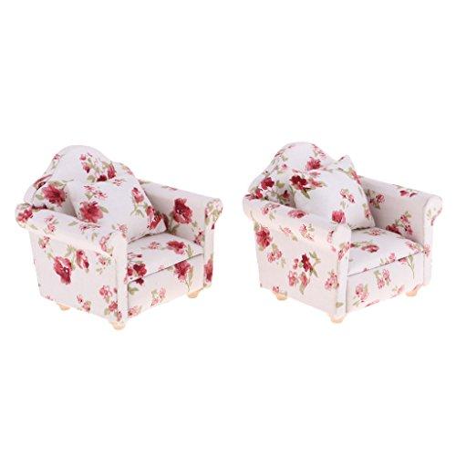 Homyl 1/12 Puppenhaus Wohnzimmer Möbel - Miniatur Sofa Couch mit Kissen - Puppenstuben Zubehör - 2 Stücke - # A
