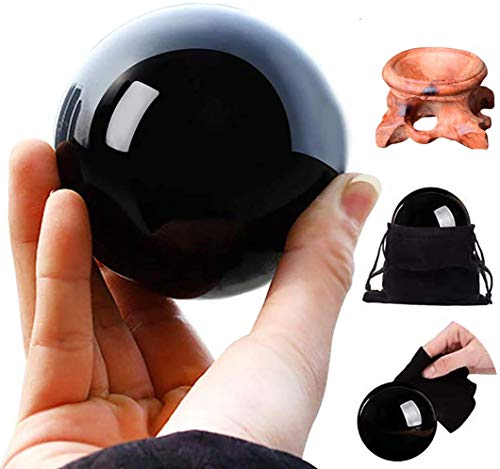 HOMELEX Black Magic Obsidian Crystal Ball with Wooden Stand for Meditation, Crystal Healing, Divination Sphere, Home Decoration (BlackBall2-60mm, Black)