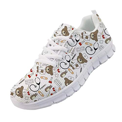 chaqlin Cartoon Bär Krankenschwester Schuhe Frauen Casual Laufen Walking Sneakers Schnüren Komfortable Weiche Wohnungen Sport Turnschuhe für Damen Mädchen Weiß Größe UK4 = Eur40