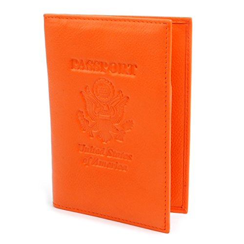 BG Genuine Leather and RFID Blocking Passport Holder - Cover for Men and Women. Slim and Travel Wallet - Orange