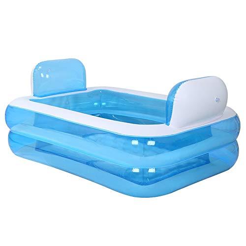 I will take action now Kinder Umweltfreundliche Aufblasbare Familienpool Zurück DREI Ring Pool Säuglings-Multifunktions-Planschbecken Erwachsenen Badewanne (Farbe: Blau) (Color : Blue)