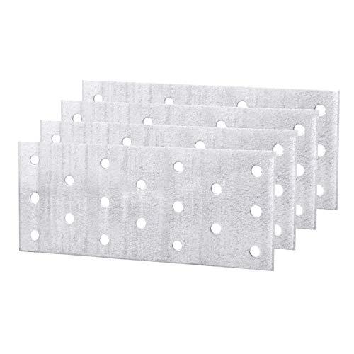 (Paquete de 4 piezas) Placa de unión de conector de reparación plana de acero 60 x 140 x 2 mm