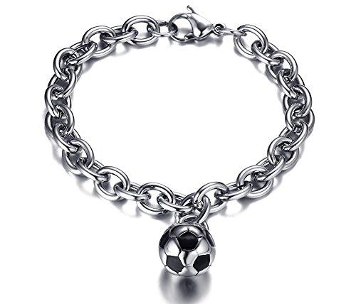 joielavie Schmuck Armband Armreif Emaille Fußball Soccer Sport Edelstahl Link Kette Armband Punk Cool Geschenk für Männer Frauen