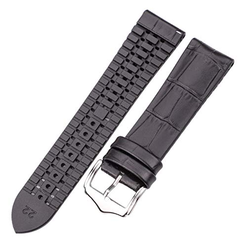 Beapet Cuero Genuino con la Banda de Reloj de Goma 18 20 22mm Black Brown Hombres Mujeres Impermeable Transpirable Reloj Accesorios (Color : Black, Size : 18mm)