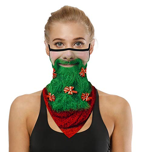 Funny Face Christmas Masks for Kids Bandana Ear Loops Decoration Men Women Neck Gaiters for Dust Wind Motorcycle Santa Claus Green
