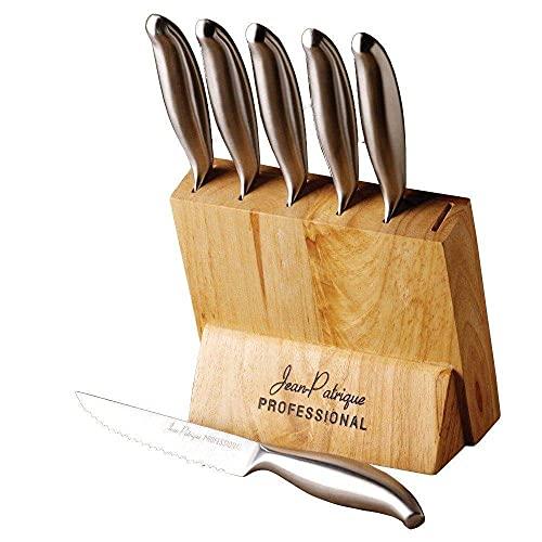 Jean-Patrique Ensemble de couteaux à steak en acier inoxydable 6 pièces - avec bloc