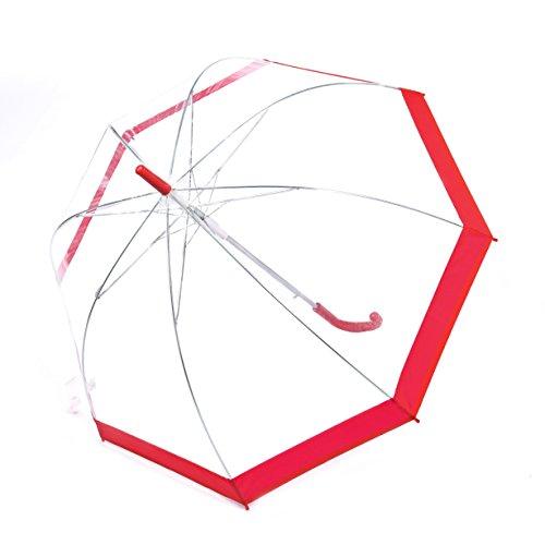 Rainbrace Transparent Bubble Umbrella Auto Open, Fashion Dome Shape with Color Trim(Red)