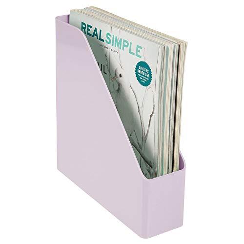 mDesign Clasificador de revistas, Documentos o Cartas – Revistero archivador de plástico con asa – Sistema Organizador de Documentos Vertical para Oficina – Lila