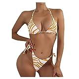 Mymyguoe Mujer Triangular Halter Bikinis Brasileños Ajustables Ropa de Playa Dos Piezas Bañadores Bikini de Traje de baño de Cintura Baja Trajes de Brasileño Conjunto Bikini Sexy
