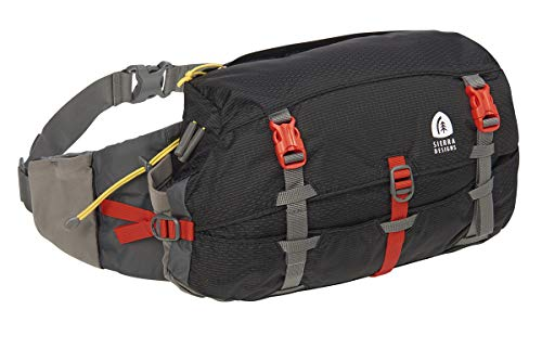 Sierra Designs Flex Lumbar Waist Pack, 7-10L Peat, Hiking Waist Bag with Water Bottle Holder, Adjustable Volume, and More
