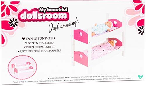 Otto Simon Holz Puppenbett Etagenbett Stapelbett Bett mit Zubehör Weiß/Pink 2 Teilig
