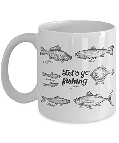 Lets Go Fishing - Hand Drawn Fish. Trout, Carp, Tuna, Herring, Flounder, Anchovy Coffee Mug, 11 oz - Unique Gifts By huMUGous
