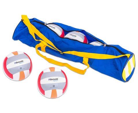 Betzold Sport 36384 - Beach-Volleyball-Set mit Tragetasche - 5 Bälle für Anfänger, Größe 5