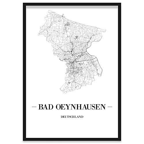 JUNIWORDS Stadtposter, Bad Oeynhausen, Wähle eine Größe, 40 x 60 cm, Poster mit Rahmen, Schrift A, Weiß