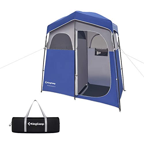 KingCamp 2-Room Camping Shower Tent Portable Toilet, Dressing Changing Room Privacy Shelter Tent for Outdoor and Indoor