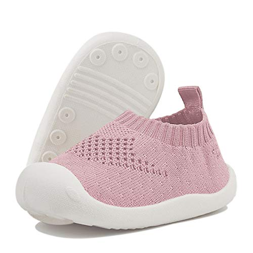 DEBAIJIA Baby First-Walking Shoes 1-4 Years Kid Shoes Trainers Toddler Infant Boys Girls Soft Sole Non Slip Mesh Breathable weight TPR Material Slip-on, 4 UK Child, Bm02 Pink