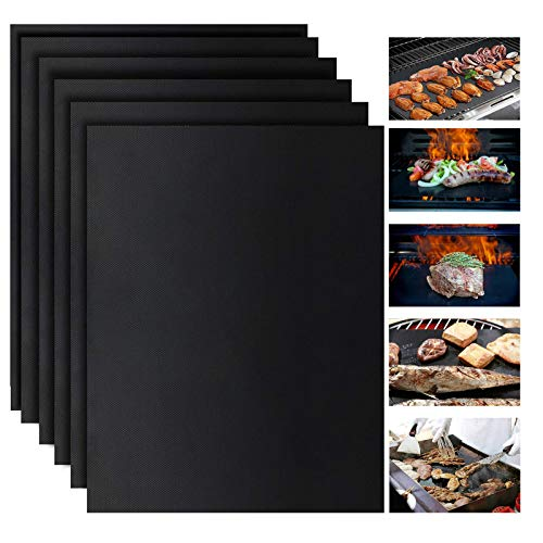 VIBOOS Grill Mat, 6 pack, 100% Non-Stick bbq Grill Mat, Barbecue Baking Mats for Charcoal, Gas, or Electric Grill, Heat…