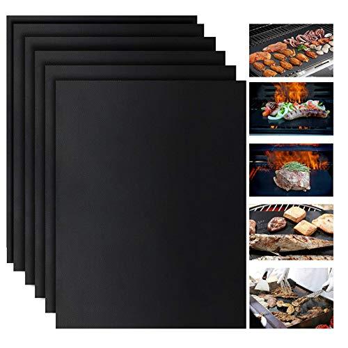VIBOOS Grillmatte, 6er Pack, 100% Antihaft-Grillmatte, Grillbackmatten für Holzkohle-,Grillmatte, 6-teiliges Grillmatten-Set (400 x 330 mm) 100% Wiederverwendbare Antihaft-Grillmatte für Grill,