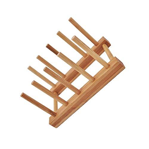 BANGSUN Wooden Folding Plate Dish Drainer 4 Plates Rack Stand Kitchen Cup Drain Tableware Storage Rack