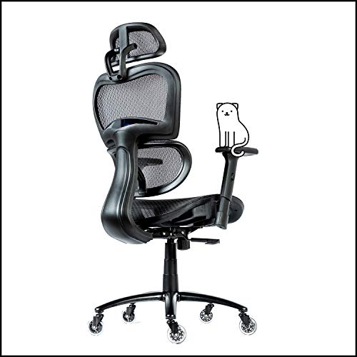 ObjectChair ErgoPro Ergonomic Office Chair - Desk Chair with Adjustable Lumbar Support, Breathable Mesh Back and Wheels - Gaming Chair, Computer Chair, Home Office Desk Chairs, Rolling Chair (Black)