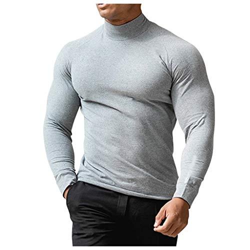 ODRD Herren Pure Color High Neck Fitness Langarm Top Schnelltrocknendes Sport-T-Shirt Herren Kleidung Hoodie Jungen Pulli Sweatshirts für Sport, Training, Fitness, Radfahren, Yoga, Wandern, Basketball
