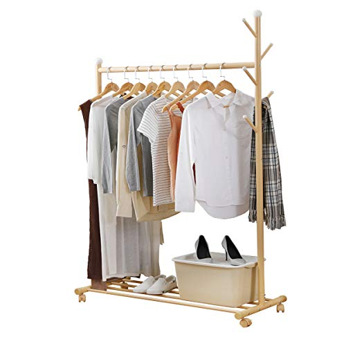 negaor Multifunctional Clothing Rack Steel Rod Clothes Rolling Garment Rack Organizer Indoor Hanger with Bottom Shelves Integrated Coat Stand on Wheels for Bedroom Dressing Room Multifunctional Cloth