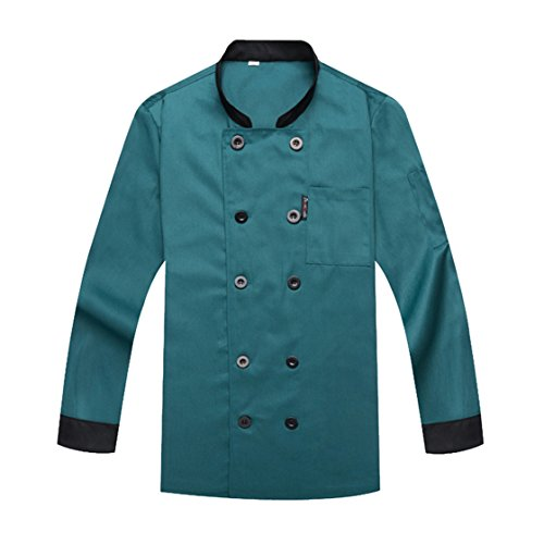 Chef Coat Chef Jacket Service Uniform Long Sleeves Green Size XL (Label:4XL)
