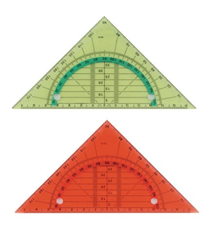 2 biegsame Geo-Dreiecke / Geometriedreieck / abheftbar / Farbe: je 1x rot + gelb