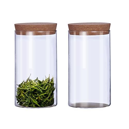 Oferta de 2 recipientes de almacenamiento de cocina de 300 ml con tapas de corcho rellenables de vidrio transparente para alimentos, frascos de almacenamiento para té, café, flores, despensa