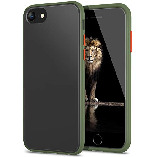 YATWIN Funda para iPhone SE 2020, Funda iPhone 8, Funda iPhone 7 Transparente Mate Case, [Shockproof Style] Botones Coloridos, Carcasa Protectora para iPhone SE 2020   iPhone 7 8 4.7  -Ejército Verde