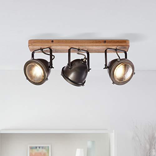 Lightbox Retro Deckenstrahler, dimmbar, 3-flammig, Spotbalken LED Deckenleuchte schwenkbar, GU10 Fassung für max. 5 Watt, Metall, Stahl Braun
