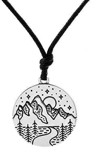 Lemegeton Halskette mit Anhänger, Punkt-Stil, Anhängermotiv: Landschaft mit Sonne, Stern, Bergen, perfekt als Gift