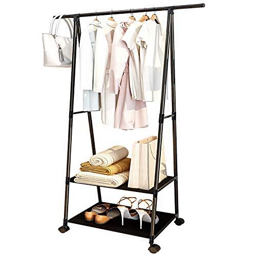 Perchero con ruedas para colgar ropa y colgar ropa, para espacios pequeños organizados, para dormitorio, interior con 2 estantes (negro)