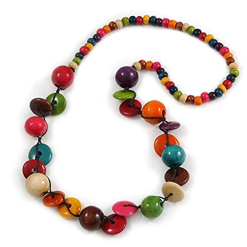 Avalaya - Collana lunga in legno con perline rotonde e bottoni, multicolore, lunghezza 88 cm