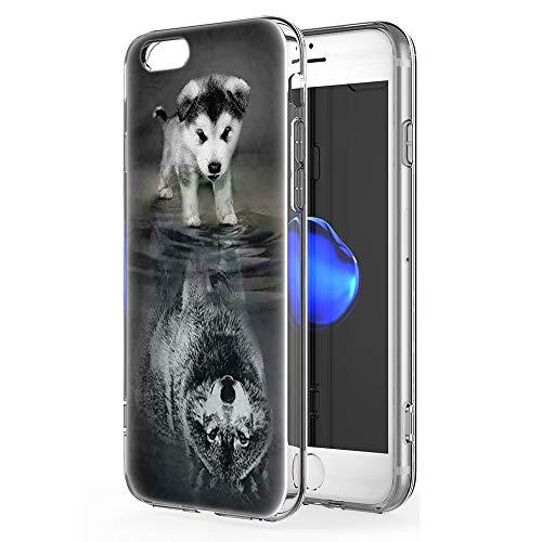 Pnakqil iPhone 6s / 6 Cover Trasparente, Premium Custodia Silicone con Disegni Leggero Ultra Sottile TPU Morbido Antiurto 3d Pattern Bumper Case per iPhone 6s / 6, Cane Lupo