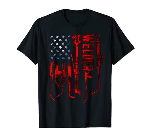 USA Flag Gas welding Welder mask Metal Hood Glove Fire Gift T-Shirt