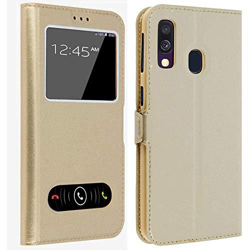 Gemtoo® Etui Coque Housse avec FENETRES pour Samsung Galaxy A 20e - Plusieurs Couleurs Disponibles (Gold)