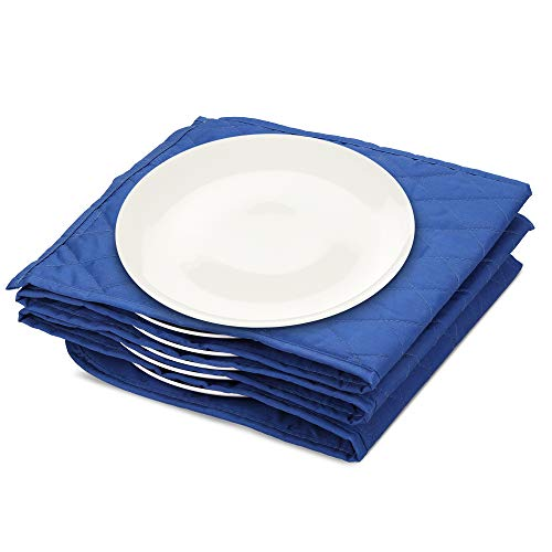 Navaris Calentador de platos eléctrico - Calientaplatos para mantener 10x plato de Ø 32 CM caliente - Bandeja calienta plato de 34 x 30 x 3 CM azul
