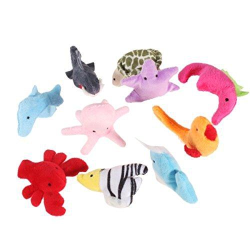 rosenice 10 Stück Fingerpuppen Handpuppe Meer Tiere Plüschspielzeug Set