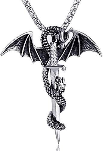 LBBYMX Co.,ltd Collar de Moda Retro con alas de dragón, Collar con Colgante de Espada en círculo, Collar de Hombre, Accesorios con Colgante de ala de dragón Deslizante de Metal de Moda
