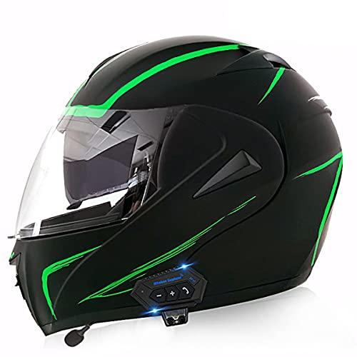 Casco Integral de Motocicleta de Antivaho Doble Visera Modular Flip Up Ligero y Fuerte Cascos de Moto Cascos Modulares para Hombre de Motocicleta Ciclomotor(Size:L(59-60CM),Color:Rayo verde-A)