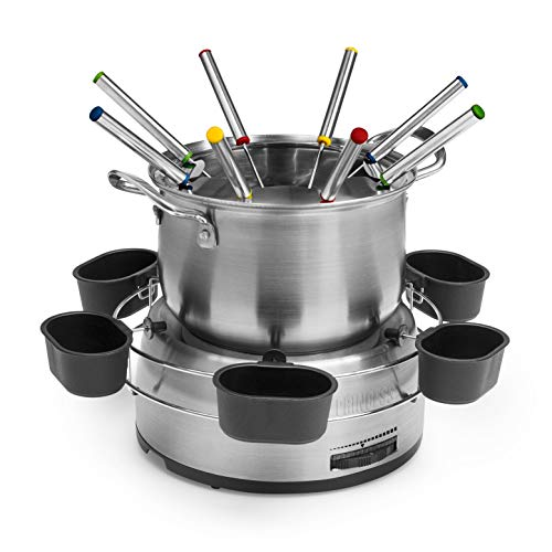 Princess 172680 Set Fondue familiar, Volumen 1.2 L, 800 W, Con cuencos para salsa, Acero Inoxidable