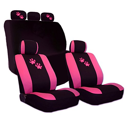 YupbizAuto 2 Tone Black and Pink with Pink Paws Logo Front and Rear Fabric Car Seat Covers Support 50/50, 60/40 Rear Split Seat for Women