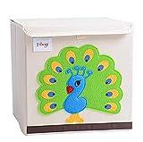 Martin Kench Aufbewahrungsbox und Organisator für Kinderspielzeug,Cartoon Aufbewahrungswürfel Leinwand Faltbare Spielzeug Aufbewahrungsbox Kinderzimmer (Pfau)