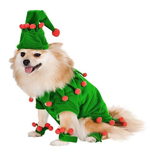 3°Amy Abrigo de Invierno para Perro Ropa de Tela de Perro con decoración de Sombrero para Mascotas Perro Cosplay Traje Perros Mascotas Gatos Products (Color : Green, Size : Small)