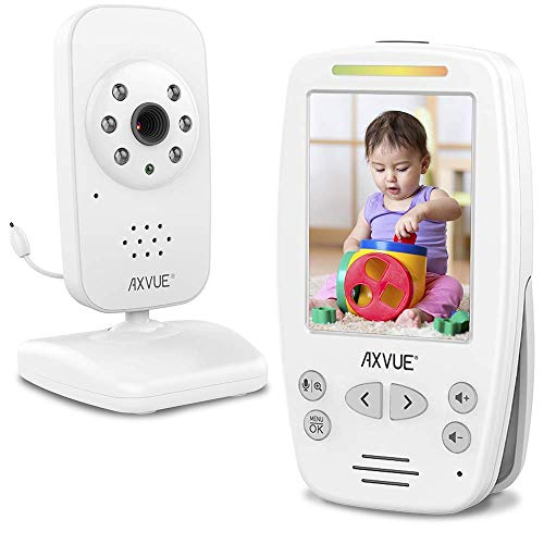 "Video Baby Monitor 2.8"" Screen, Auto Night Vision, Long Range, Slim Handheld, Temperature Detection, E660, Pukka White Monitors"